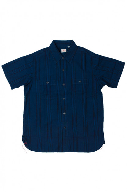 Sugar Cane Indigo-Dyed Indigo/Black Seersucker Summer Shirt